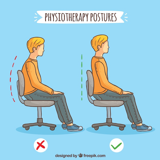Boy seated correctly and incorrectly