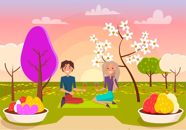 Boy in shirt and blond girl sit on mat with wine glasses in park on romantic picnic at sunset in spring vector illustration.