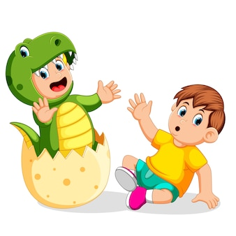 Boy shocked when his friend came out from the egg and using the tyrannosaurus rex