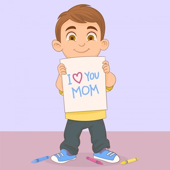 Boy showing a mother's day card