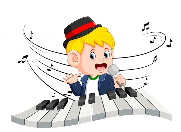 Boy singing and playing piano