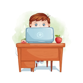 The boy sits at a desk and works on a laptop. back to school. distance and computer training.