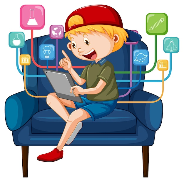 Boy sitting on couch learning from tablet