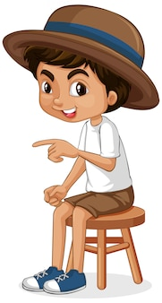 Boy sitting on wooden stool