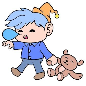 Boy sleep delirious walking carrying a teddy bear, doodle draw kawaii. illustration art