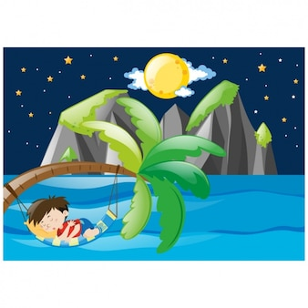 Boy sleeping in a hammock