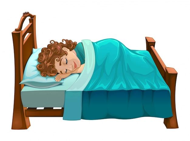 Мальчик спал на кровати векторного мультфильма изолированной сцене