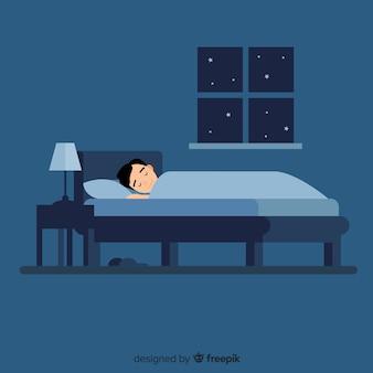 침대에서 자 고하는 소년