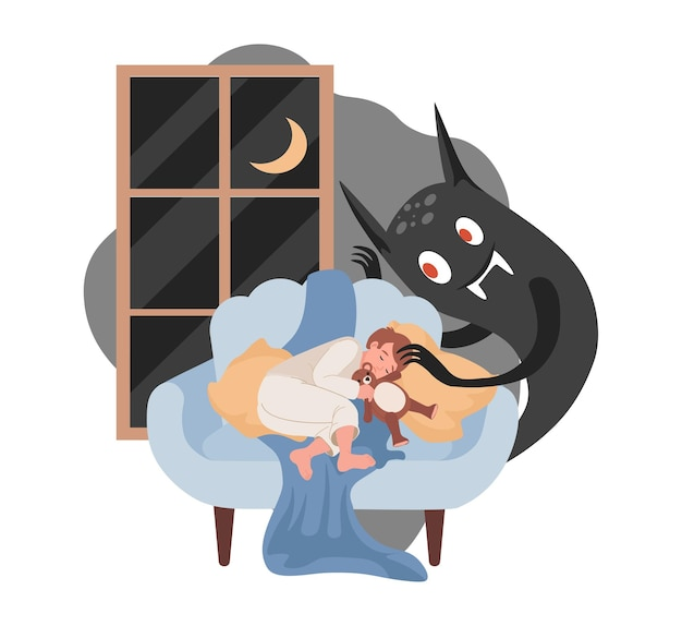 Boy sleeping, scary black night monster ready to attack him