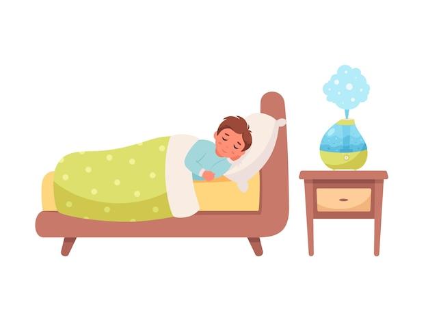 Boy sleeping with air humidifier in room