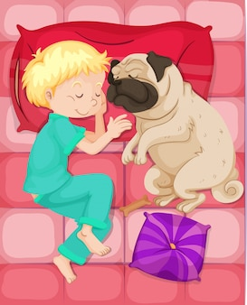 Мальчик спит с собакой в постели
