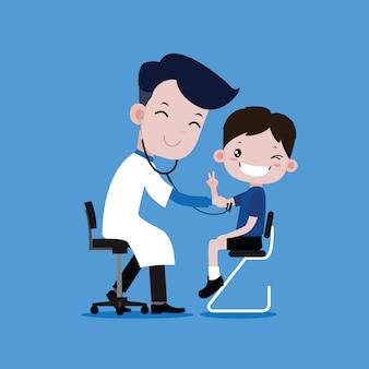 Boy smiles when the doctor checks the body