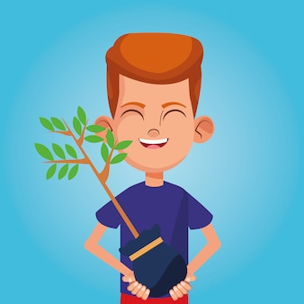 Boy smiling with plant cartoon