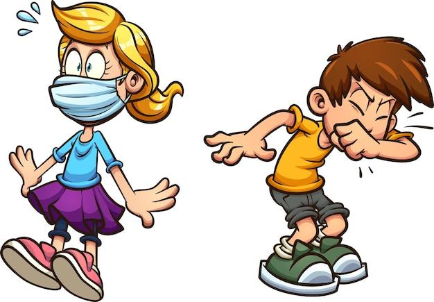 くしゃみをする男の子とフェイスマスクを身に着けている怖い女の子