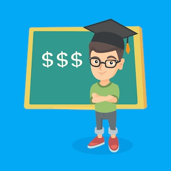 Boy standing in front of board with dollar signs.