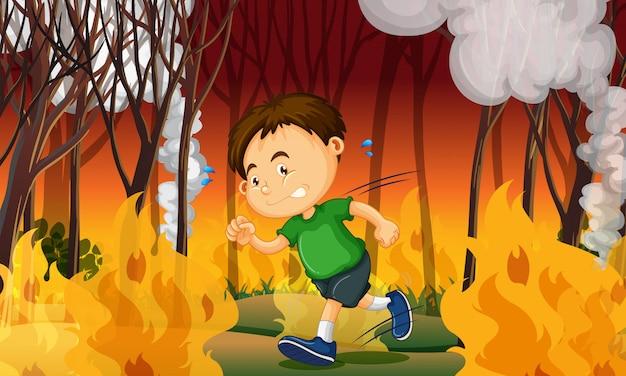 A boy stuck in wildfire