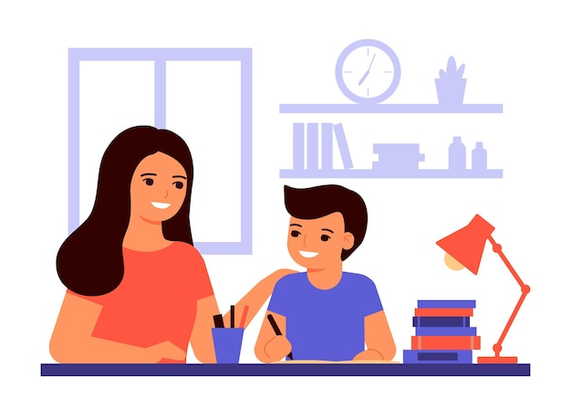 소년 학생은 집에 앉아 교사, 엄마의 도움으로 수업을 배우고 있습니다. 아이는 숙제를하고 있습니다. 엄마는 과제 해결을 돕습니다. 가정 학교, 온라인 교육, 지식 개념. 플랫