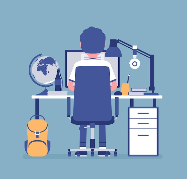 Boy student sitting at desk, rear view. young pupil doing homework or assignment, teenager preparing for school exams, distance education and online courses, home external study. vector illustration