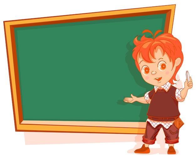Мальчик студент стоит возле классной доски и показывает векторные иллюстрации шаржа, изолированные на белом
