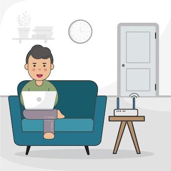 Мальчик учится на ноутбуке дома