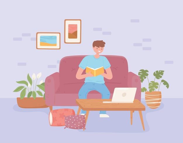 집에서 공부하는 소년
