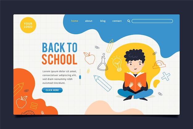 Boy studying back to school landing page