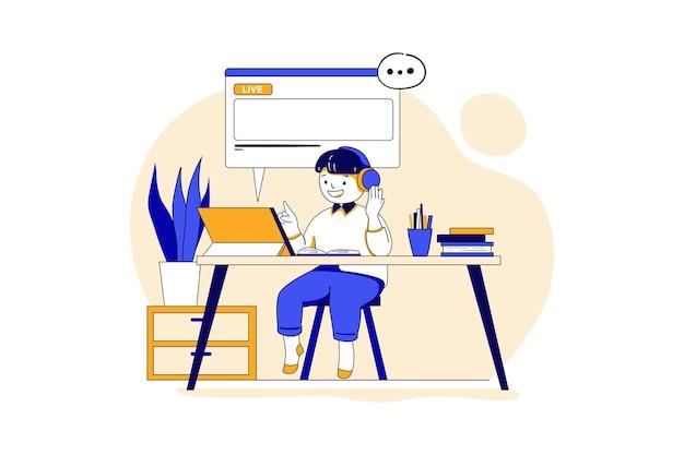 Мальчик учится онлайн с помощью планшета