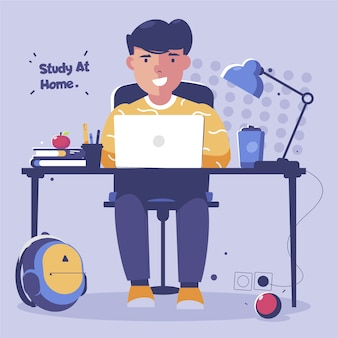 Boy studying online