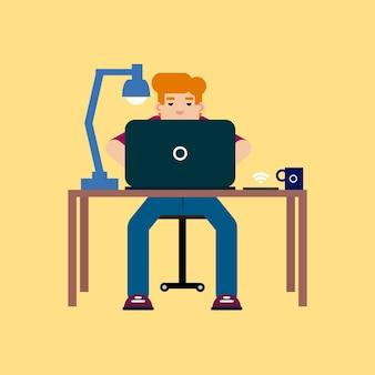 Мальчик учится с ноутбуком
