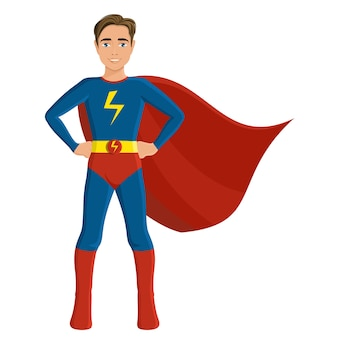 Boy in superhero costume full length portrait isolated on white background vector illustration.