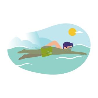 Boy in swimwear is swimming in the pool or sea in sunny day