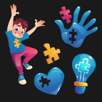 Boy and symbols with puzzle pieces