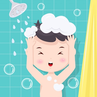 Boy take a shower