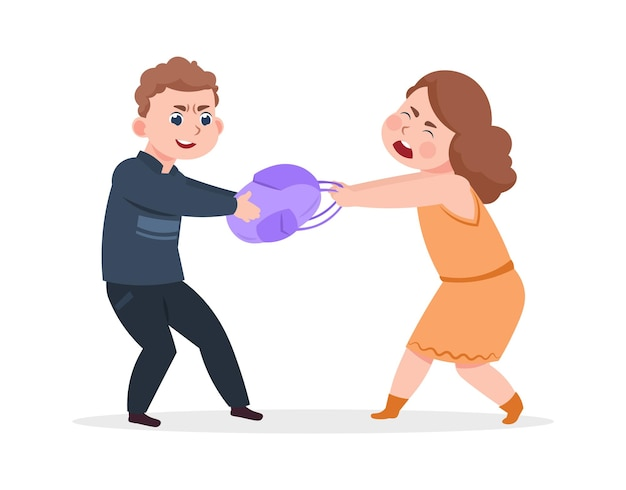 Boy takes bag from girl. bad schoolboy behavior, angry guy. raised and offended cartoon children vector illustration. teenage girl and boy, conflict aggressive teenager