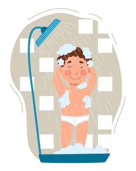 The boy takes a shower childrenes hygiene the child is covered in foam