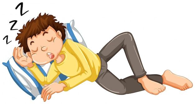 少年が昼寝する
