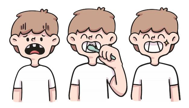 Мальчик заботится о зубах милый мультфильм иллюстрации