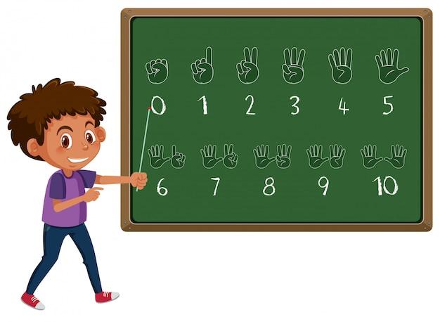 Boy teaching hand number gesture