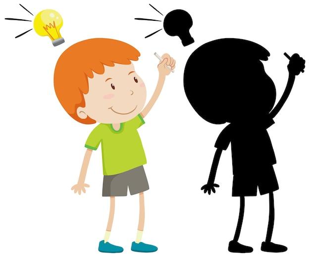 Мальчик думает с лампой идеи в цвете и силуэт