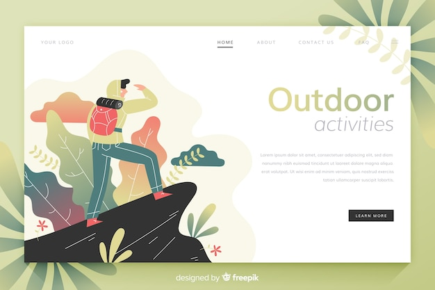 Boy at the top of a mountain landing page