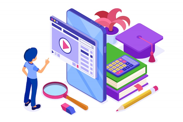 Boy touching screen with books isometric illustration