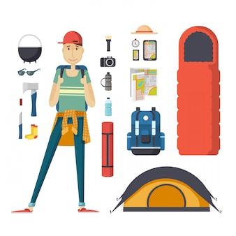 バックパックと観光物のセットを持つ少年観光客。バックパック、寝袋、テントを持つ若い男性旅行者。