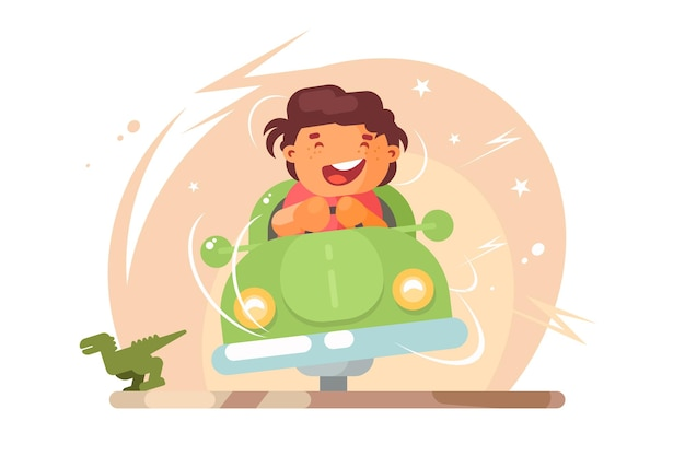 Boy in toy car  illustration. smiling little boy going by car