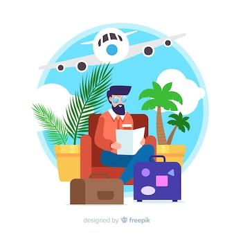 Boy traveling alone flat design