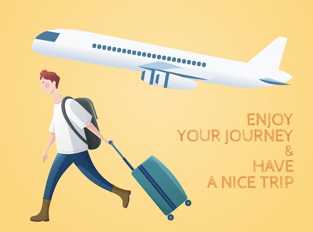 Boy traveling through airplane