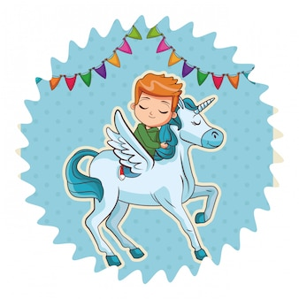 Boy on unicorn cartoon