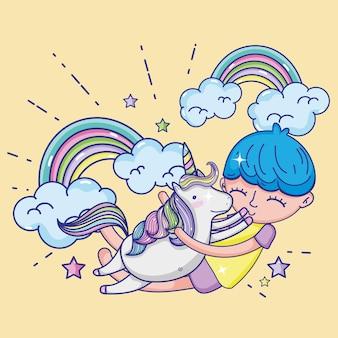 Boy and unicorn cute cartoons
