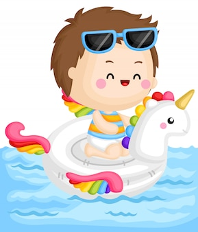 Boy on unicorn float