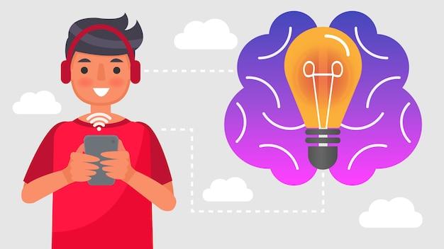 Мальчик использует телефон для поиска информации. концепция дистанционного обучения. онлайн обучение, обучение на дому, с содержанием эпидемической ситуации типа virus.characters, иллюстрации.