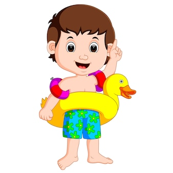 Boy using inflatable ring